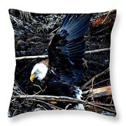 Eagle Getting Ready To Feed Throw Pillow