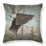 Eagle  In Forest Throw Pillow