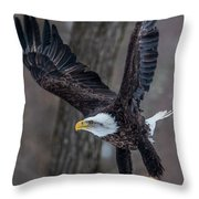 Eagle In The Forest Throw Pillow