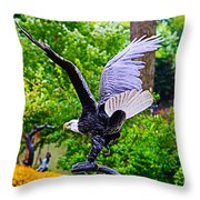Eagle In The Garden Throw Pillow
