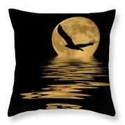 Eagle In The Moonlight Throw Pillow