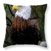 Eagle In The Night Throw Pillow