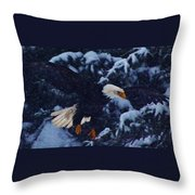 Eagle In The Storm Throw Pillow