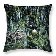 Eagle Landing On Nest Throw Pillow