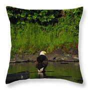 Eagle On River Rock II Throw Pillow