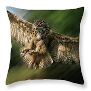 Eagle Owl Landing Throw Pillow