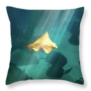 Eagle Ray Underwater Throw Pillow