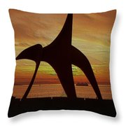 Eagle Sunset Over Elliott Bay Throw Pillow