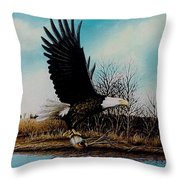 Eagle With Decoy Throw Pillow