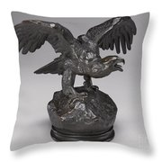 Eagle With Wings Outstretched And Open Beak Throw Pillow