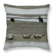 Eagles And Seals Throw Pillow