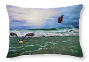 Eagles At Sea Wildlife Art Throw Pillow