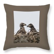 Eaglets Having A Chat Throw Pillow