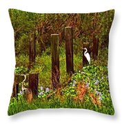 Egret And Heron Throw Pillow