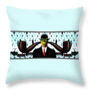 Ear Smoking Apple Guy Standing In The Man Rain Throw Pillow