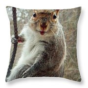 Earl The Squirrel Throw Pillow