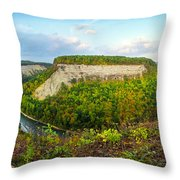 Early Autumn At Genesee River Canyon New York Throw Pillow