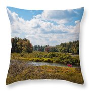 Early Autumn At The Tobie Trail Bridge Throw Pillow