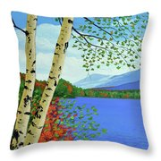 Early Autumn Birches Throw Pillow