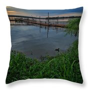 Early Day At The Dock Throw Pillow