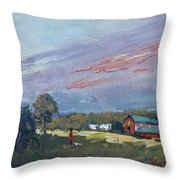 Early Evening At Phil's Farm Throw Pillow