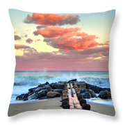 Early Evening At The Beach Throw Pillow