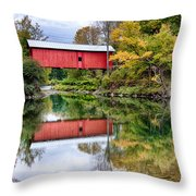 Early Fall Colors Surround A Covered Bridge In Vermont Throw Pillow