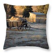 Early Farm Wagon Throw Pillow