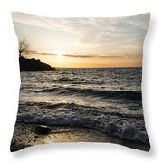 Early Lakeside - Waves Sand And Sunshine Throw Pillow