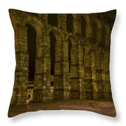 Early Morning At The Aqueduct Of Segovia Throw Pillow