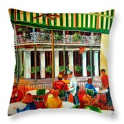 Early Morning At The Cafe Du Monde Throw Pillow