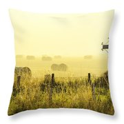 Early Morning At The Farm Throw Pillow