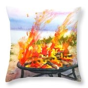Early Morning Beach Bonfire Throw Pillow