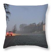 Early Morning Car Lights Throw Pillow