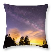 Early Morning Colorful Colorado Milky Way View Throw Pillow