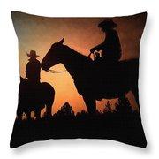 Early Morning Cowboys Throw Pillow