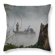 Early Morning Fishing Throw Pillow