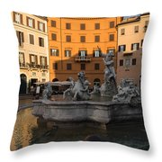 Early Morning Glow - Neptune Fountain On Piazza Navona In Rome Italy Throw Pillow