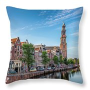 Early Morning In Amsterdam With Canal Throw Pillow