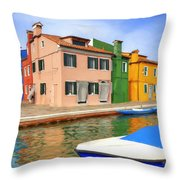 Early Morning In Isola Di Burano Throw Pillow