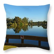 Early Morning In Lakes Park Fort Myers  Throw Pillow