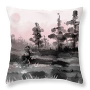 Early Morning In The Forest Throw Pillow