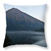 Early Morning Mist Lake Atitlan Guatemala Throw Pillow