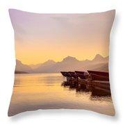 Early Morning On Lake Mcdonald Throw Pillow by Adam Mateo Fierro