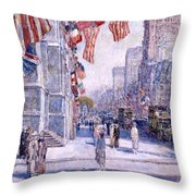 Early Morning On The Avenue In May 1917 - 1917 Throw Pillow