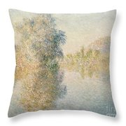 Early Morning On The Seine At Giverny Throw Pillow