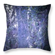 Early Morning Pearls Dew Kissed Spider Web Throw Pillow