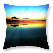 Early Morning Rays Over The Boat House Throw Pillow