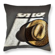 Early Morning Shadows On Straw Hat Throw Pillow