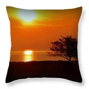 Early Morning Sunrise On A Silhouetted Beach Throw Pillow
